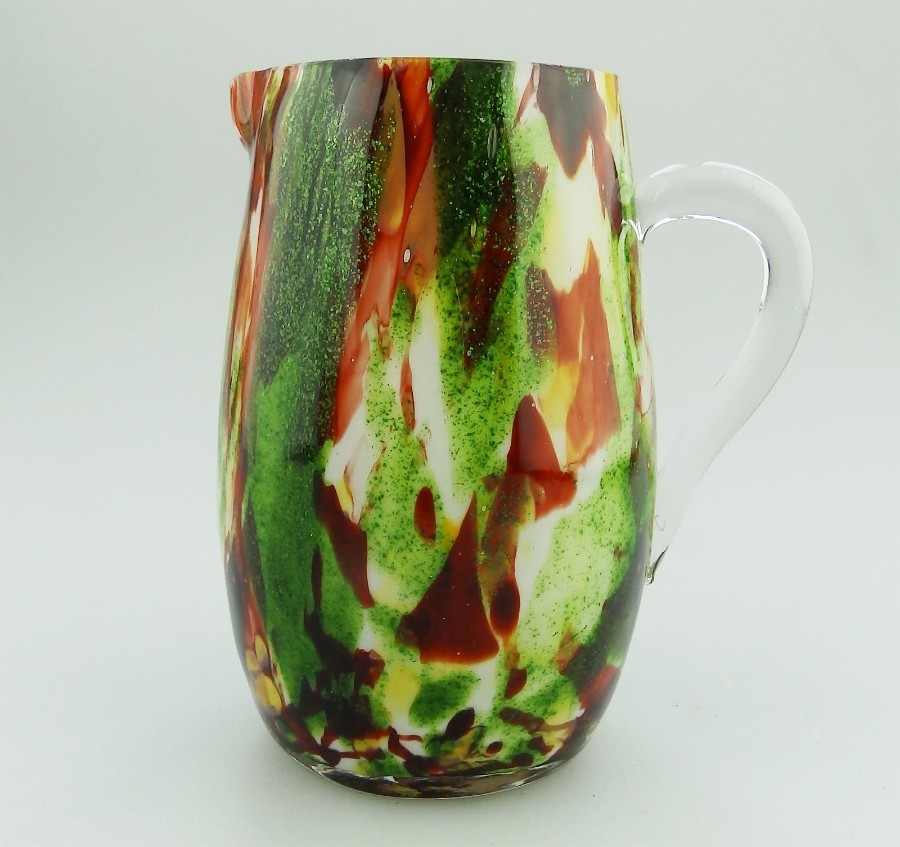 Antique Glass : A Victorian end of day glass multi coloured Jug C.19thC