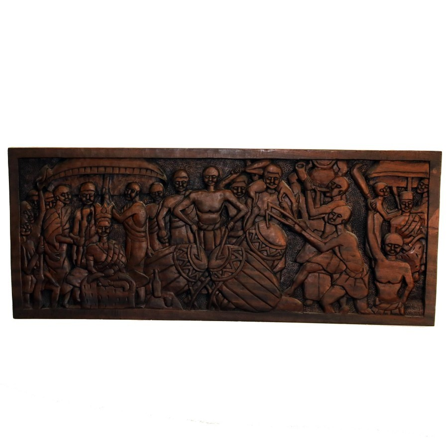African Tribal : A giant hand carved Ashanti Wooden Plaque Royal Wedding / Coronation - great int...