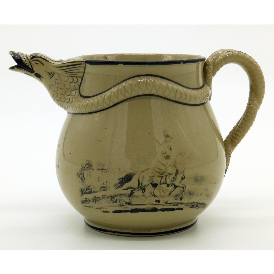 Antique Antique English Pottery Ridgway Drabware Serpent Jug C.1810