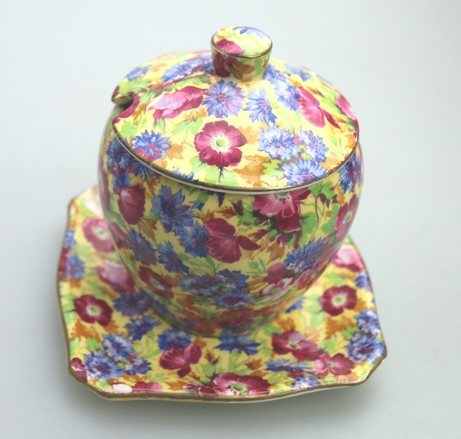 British Decorative Arts: A Grimwades Royal Winton Chintz pottery Royalty Preserve Pot on Stand C.1934+