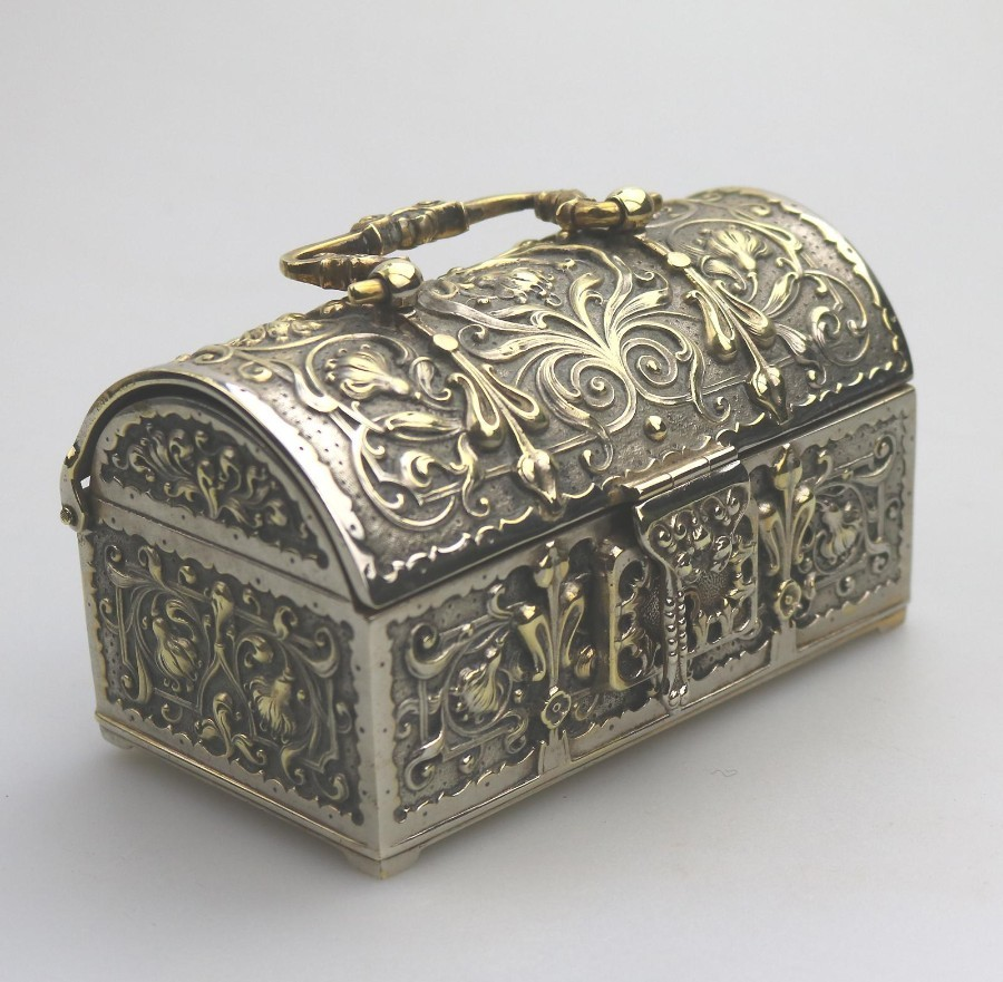 Antique / Vintage Boxes : a novelty Art Nouveau design Jewellery Box Armada Treasure Chest Early/Mid 20thC