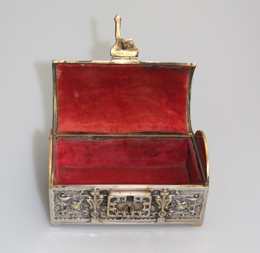 Antique Antique / Vintage Boxes : a novelty Art Nouveau design Jewellery Box Armada Treasure Chest Early/Mid 20thC