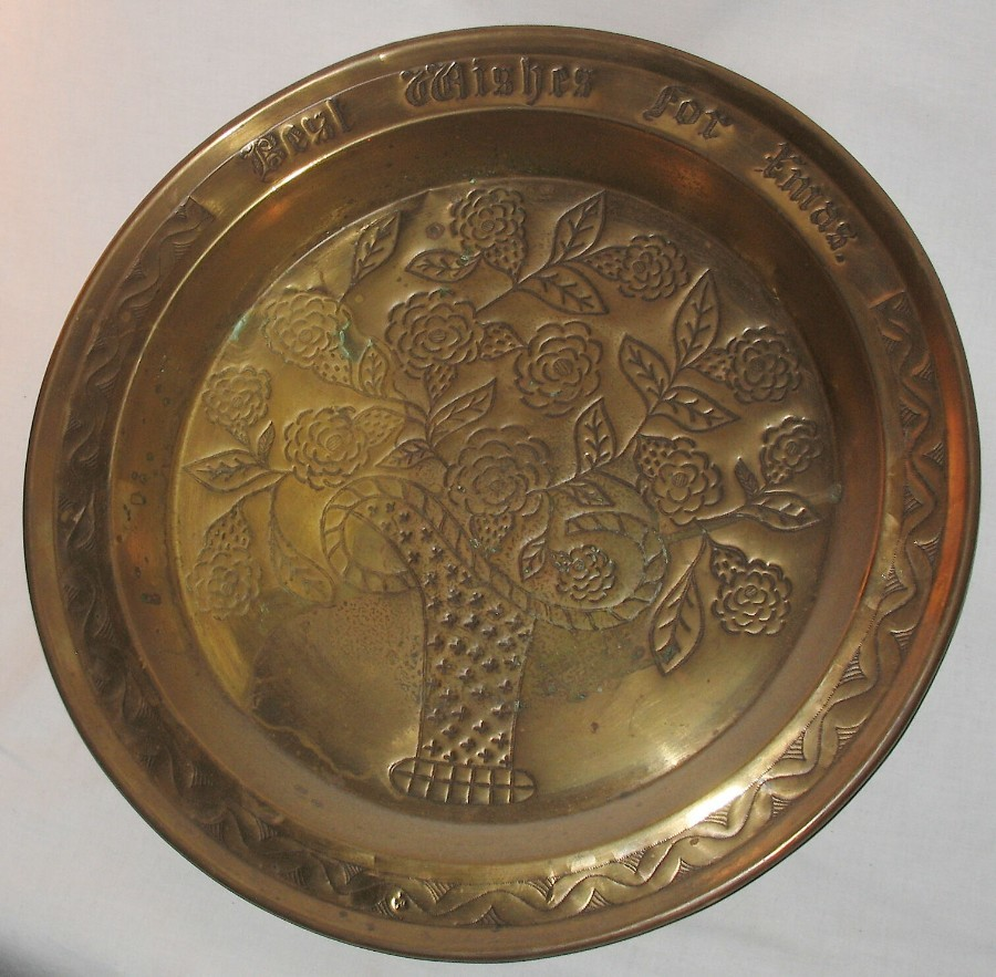 Antique Metalware : A gigantic Arts & Crafts brass Charger / Tray signed Best Wishes for Xmas C.e...