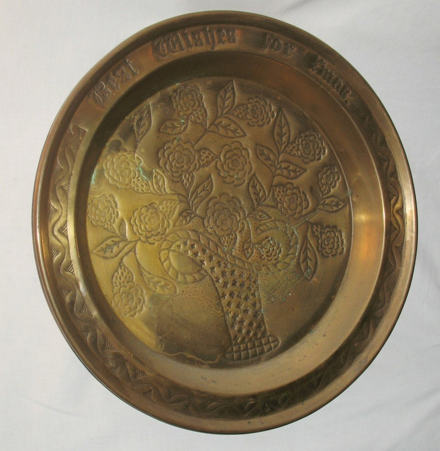 Antique Antique Metalware : A gigantic Arts & Crafts brass Charger / Tray signed Best Wishes for Xmas C.early 20thC