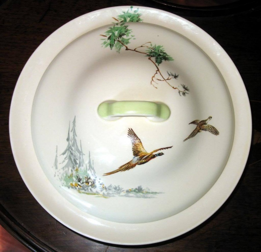 Royal Doulton : A pretty Vegetable Tureen and Cover decorated flying pheasants (2X available) C.1930's