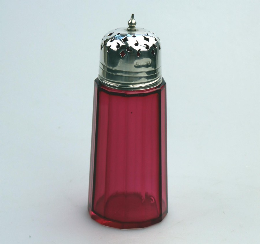 Antique Coloured Glass Cranberry Muffineer / Sugar Shaker / Caster C.19thC
