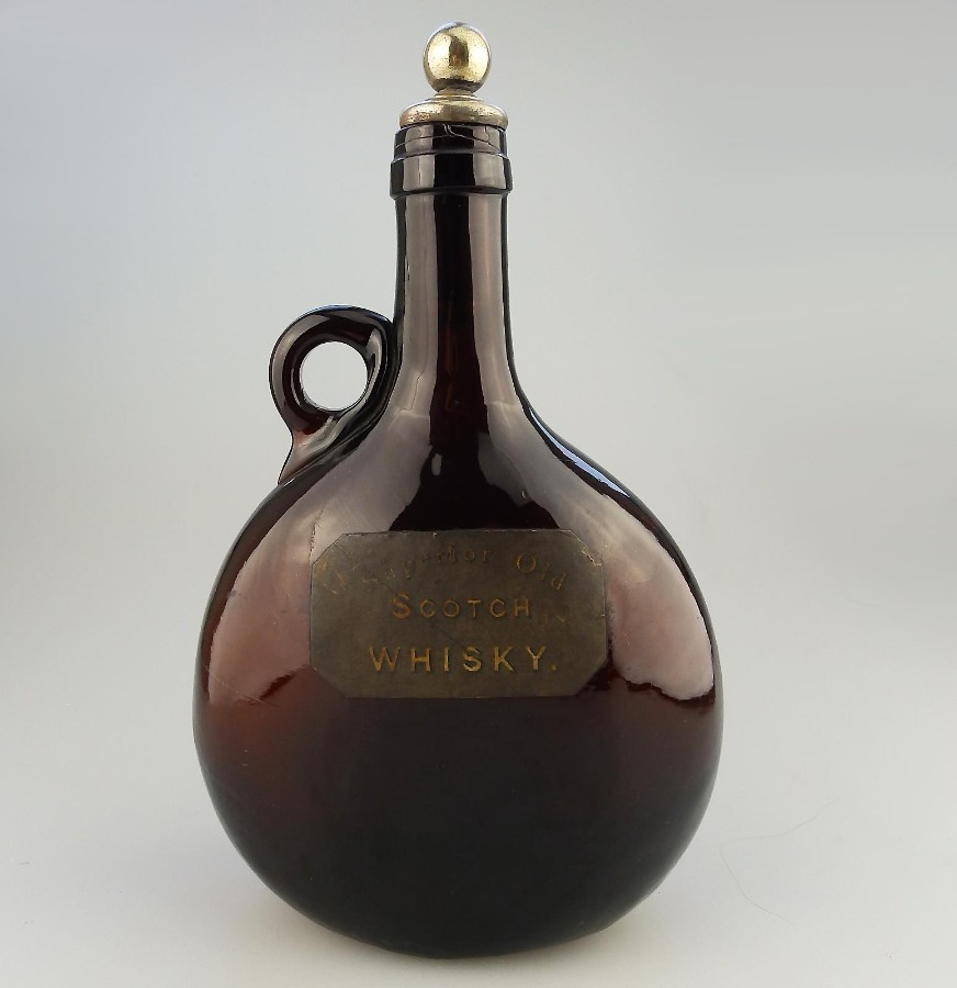 Antique English Coloured Glass a Victorian Bristol amber Whisky Flask - with label - C.19thC