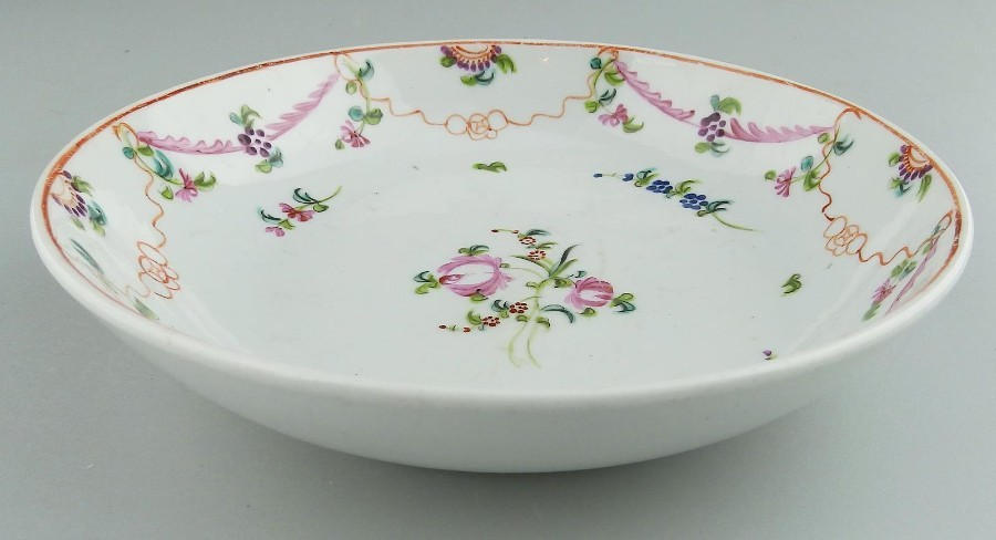 Antique New Hall Antique English Porcelain hand painted Saucer C.18thC