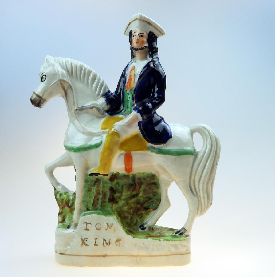 Antique Antique Staffordshire Pottery Tom King polychrome Figure C. 1850