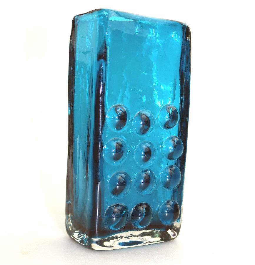 Whitefriars Art Glass : Kingfisher Blue Mobile Phone Vase Geoffrey Baxter C.1969