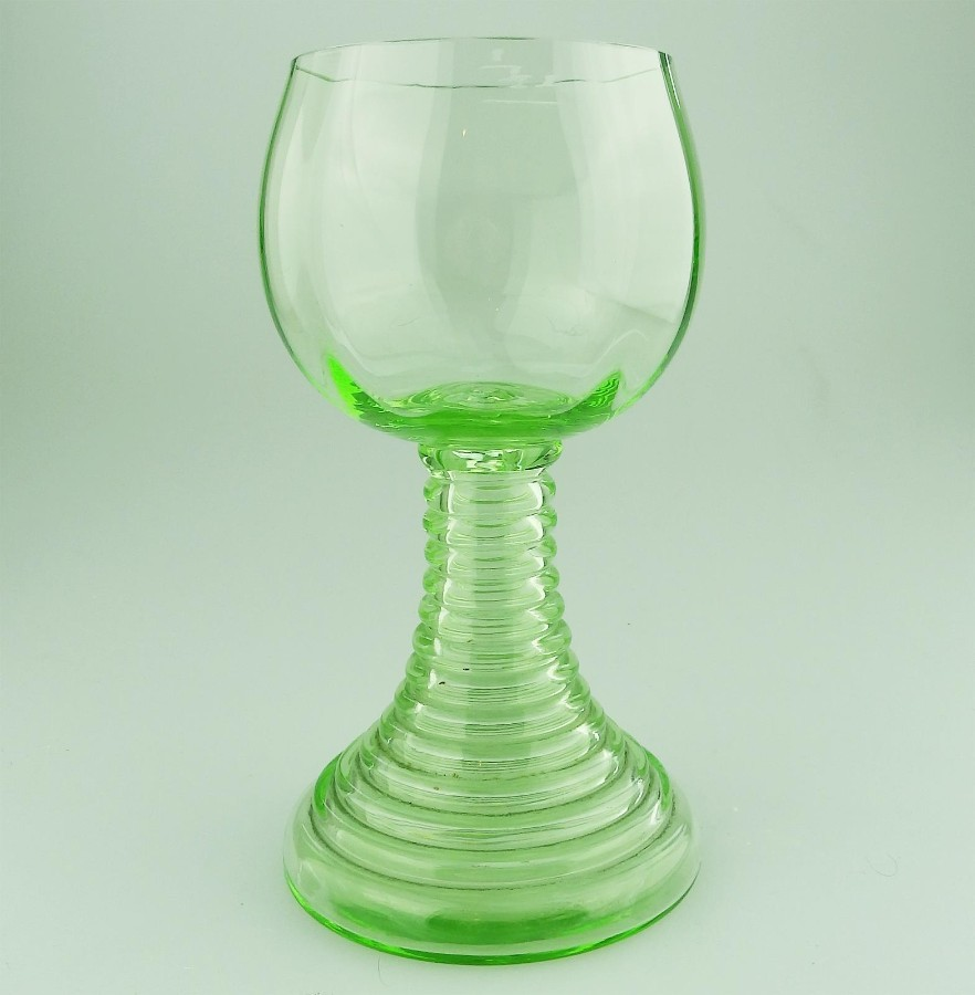 Art Deco Glass an unusual green stepped hollow stem Goblet Glass C.1920-30