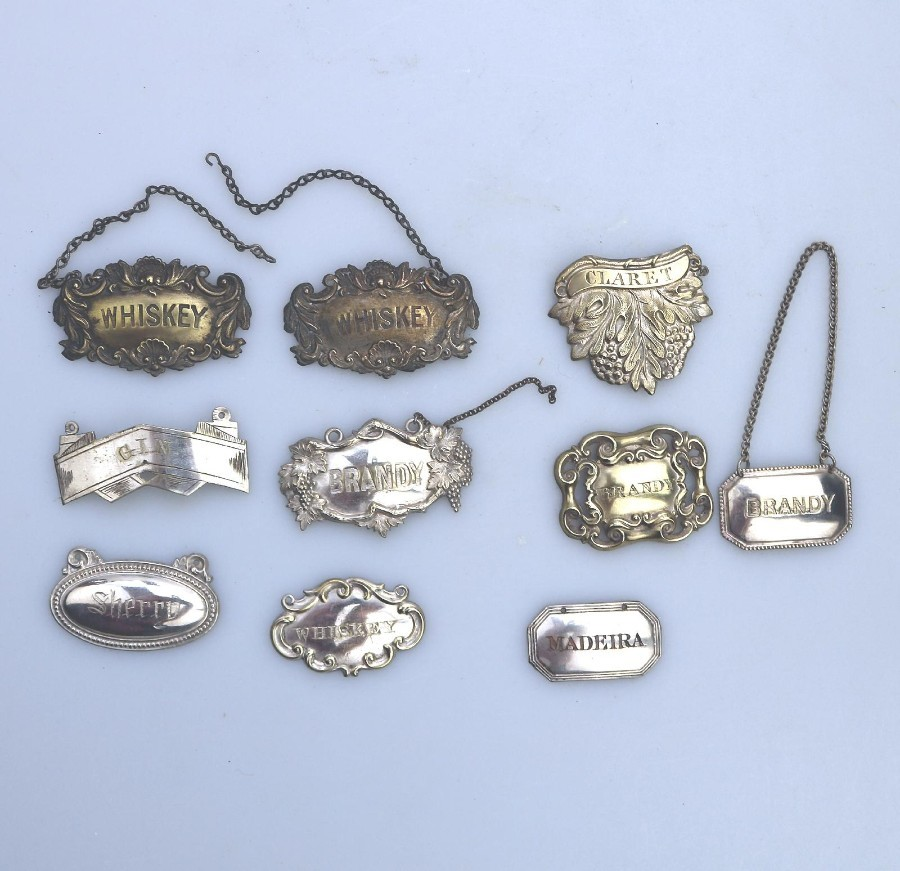 Antique Silver Plate Collection / Lot Decanter Wine Labels / Tickets 10X 19thC