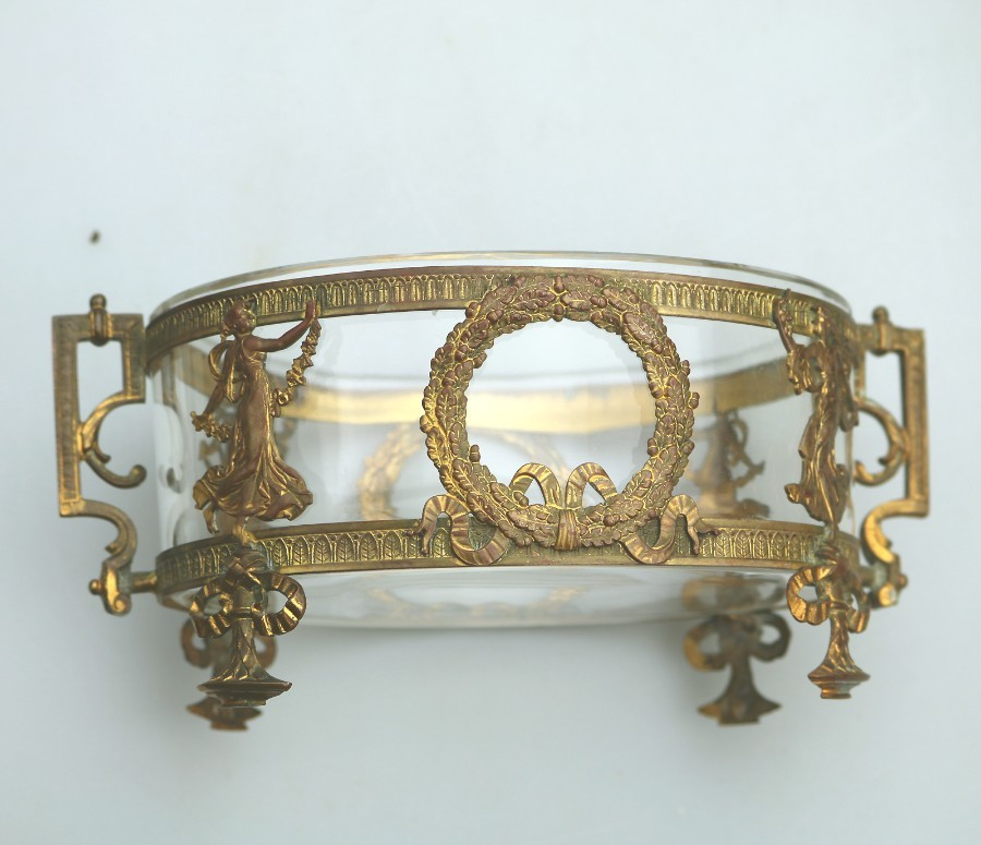 Antique French Neo Classical gilt Bowl with Maidens C.19thC