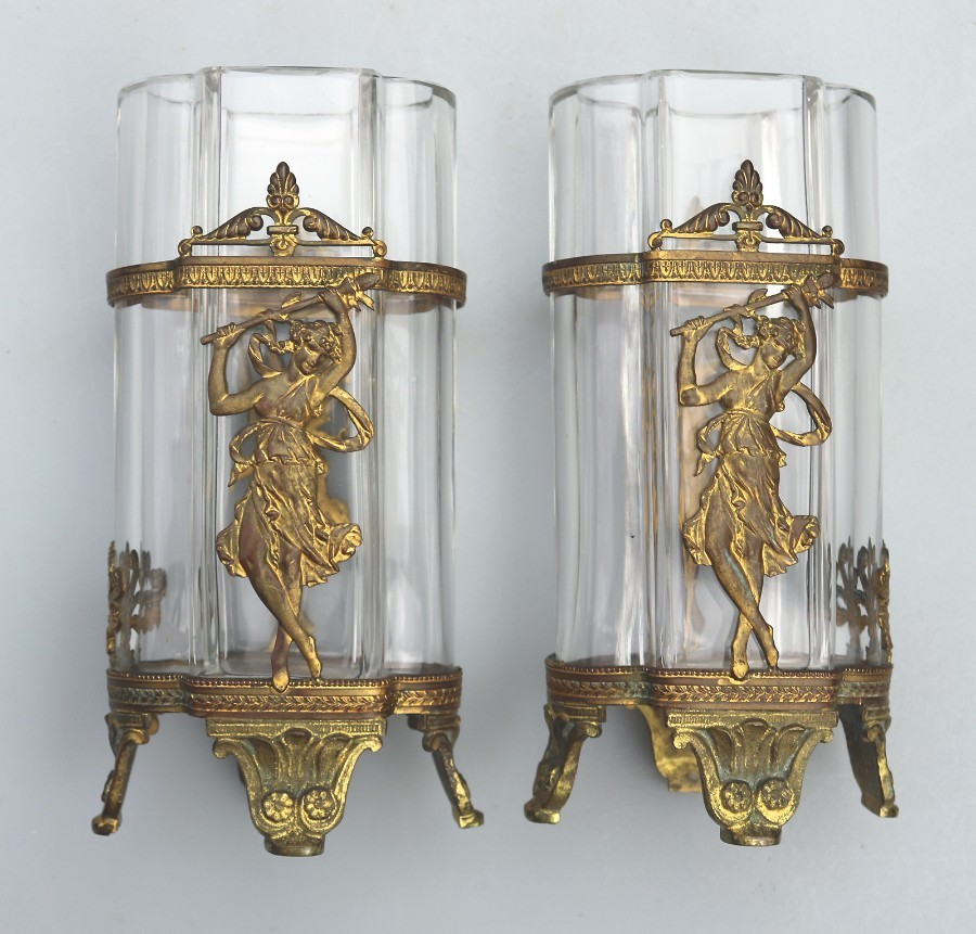 Antique French Neo Classical gilt pair of Vases with Maidens C.19thC