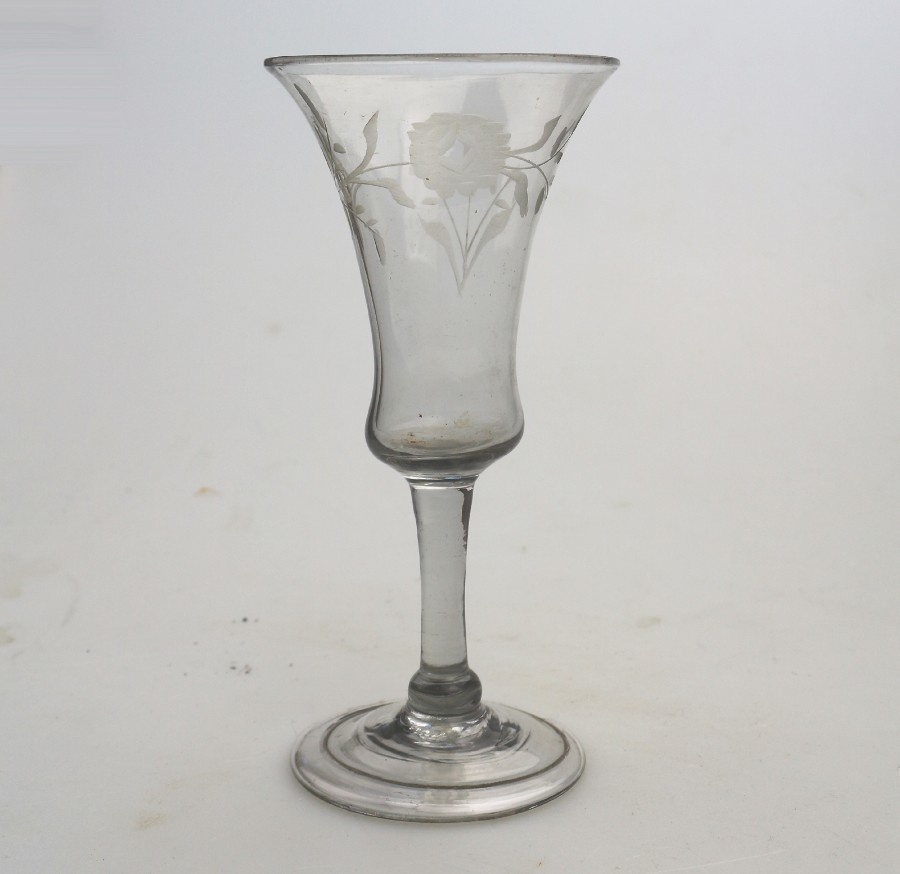 Antique Georgian Stemware Campana Bowl Wine Glass C.Mid 18thC