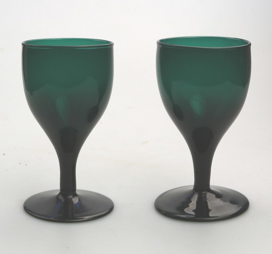 Antique English coloured Glass a pair Bristol green Tulip Wine Glass C.19thC