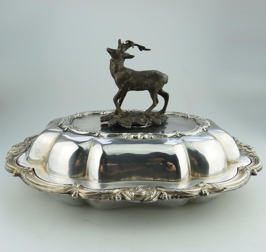 Transition Period Antique novelty Silver Plate EXTREMELY RARE Venison Dish 1840