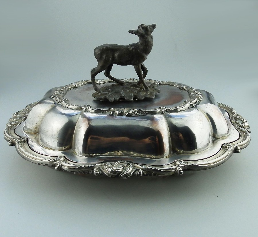 Transition period Antique Silver Plate EXTREMELY RARE novelty Venison Dish 1840