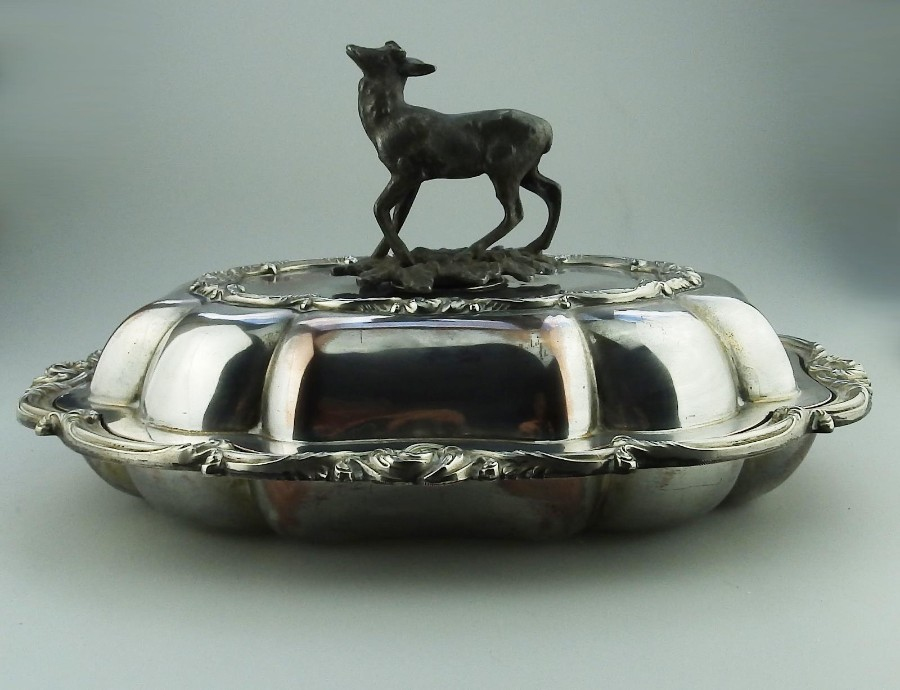 Antique Transition period Antique Silver Plate EXTREMELY RARE novelty Venison Dish 1840
