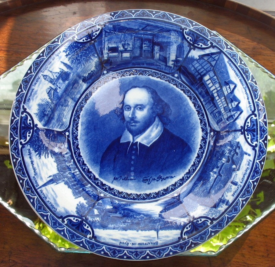 Antique Blue White Transferware Samuel Hancock William Shakespeare Charger 1904