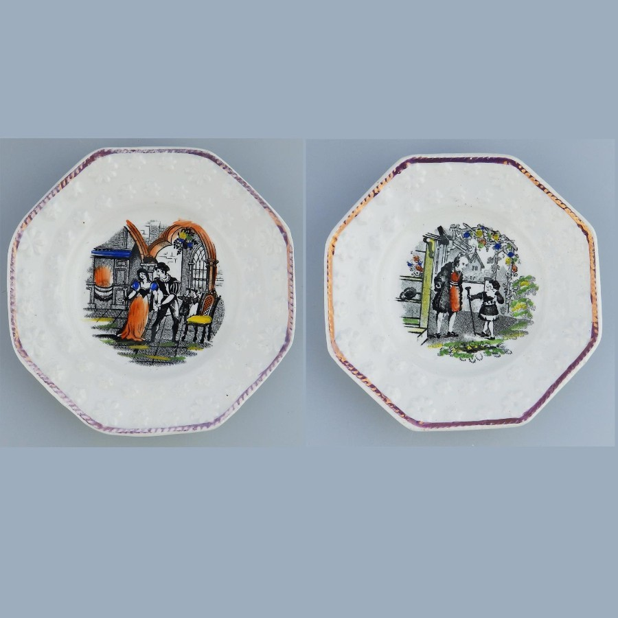 Antique Staffordshire Pottery a pair Nursery Plates daisy borders C.19thC