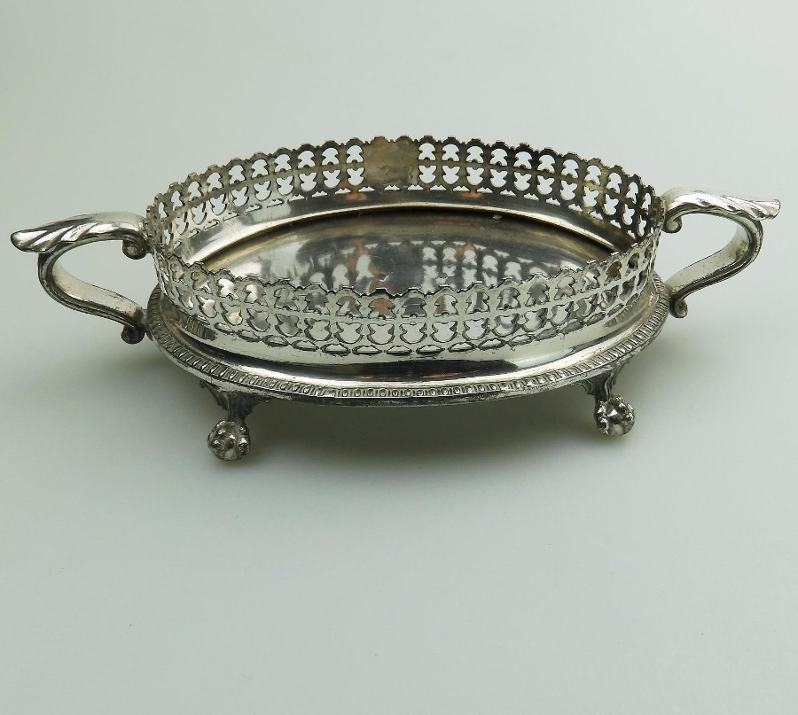 Antique Silver Plate : An unusual pierced Stand by Ashberry C.19thC