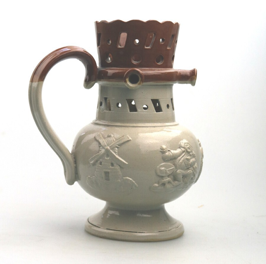 Antique An attractive Victorian Stoneware Staffordshire / Denby novelty Puzzle Jug C.19thC