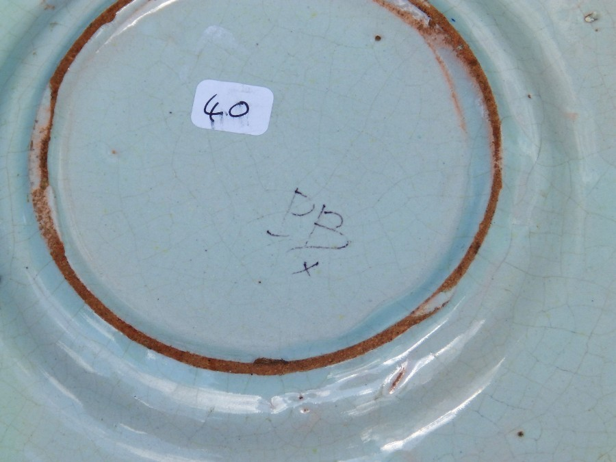 Antique Antique Henriot Quimper / Malicorne Faience Pottery : Pair of small Plates C.early 20thC