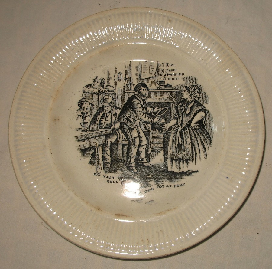 Antique Pottery : Early 19th century Nursery Plate - Probably Staffordshire C.1840