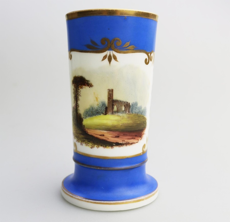 Antique English Porcelain a good Regency hand painted Spill Vase C.19thC