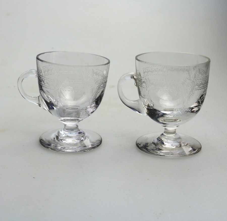 Antique Glass a pair of Edwardian Custard Cups C.early 20thC