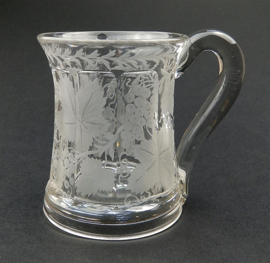 Antique Antique Glass : Marriage Tankard cut & engraved vine, hops & barley C.19thC