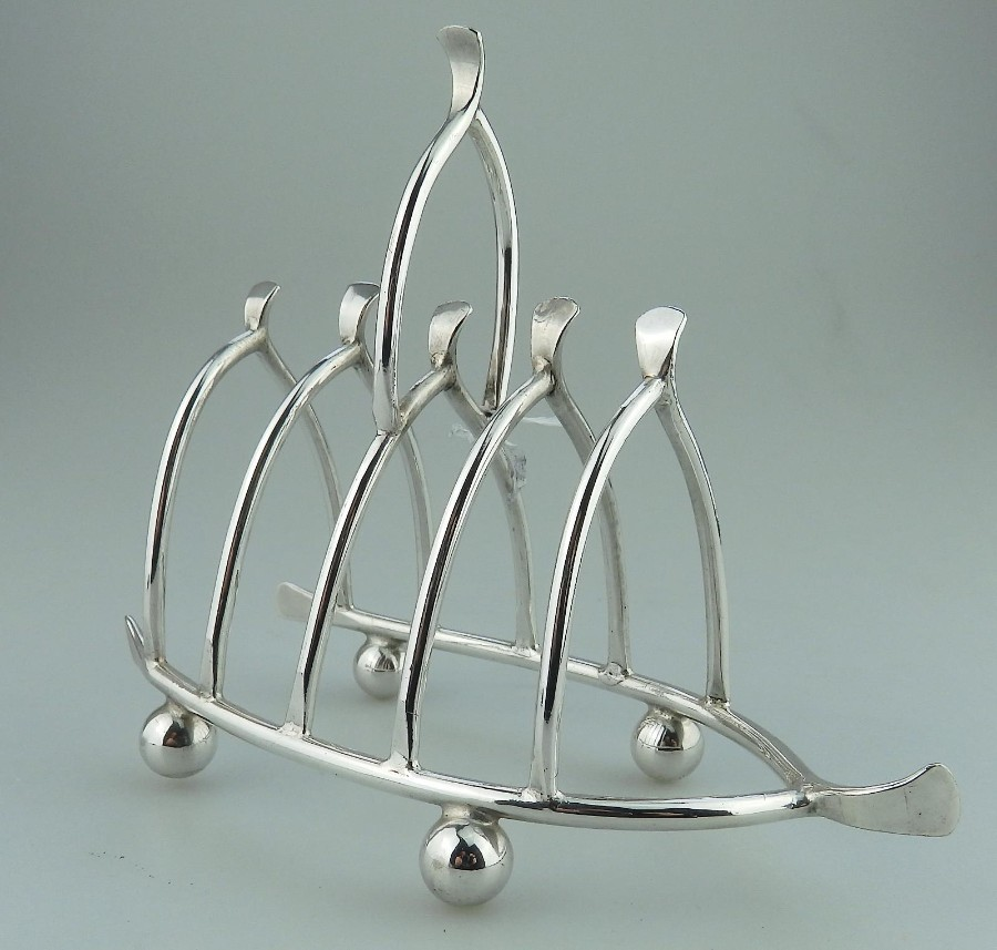 Antique Silver Plate a pretty Novelty Wishbone Toast Letter Rack C.1890