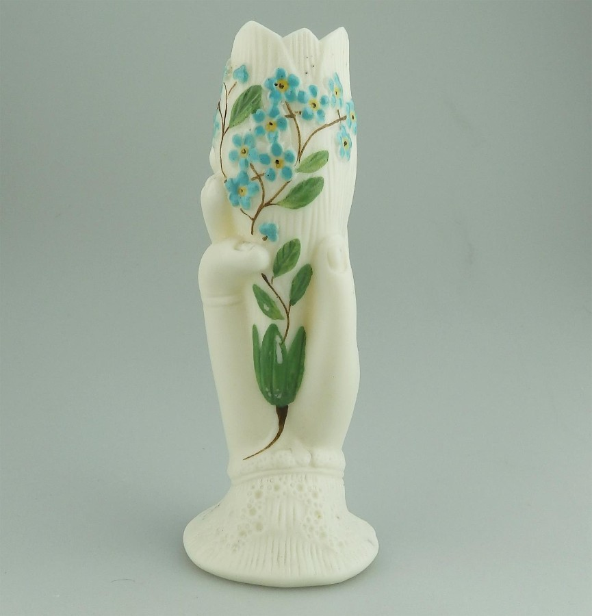 Antique Continental Porcelain / Parian a floral hand painted Hand Vase C.19thC