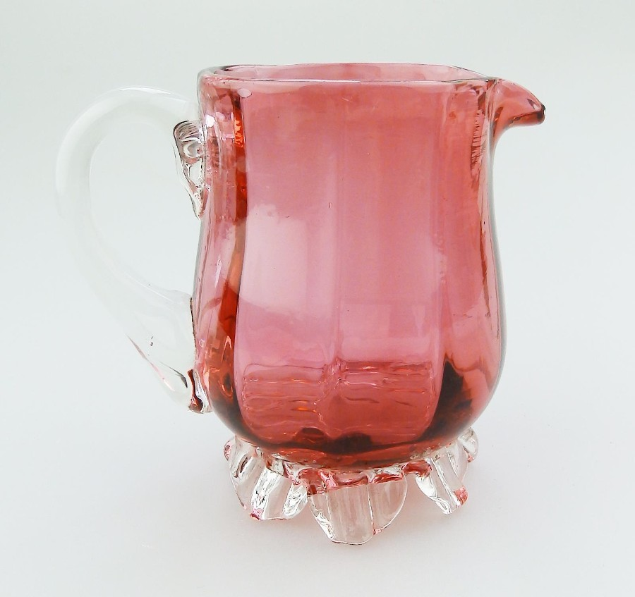 Antique English Cranberry Glass a pretty shaped Victorian Jug No.6 C.19thC
