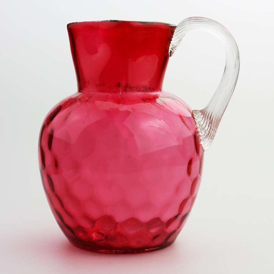 Antique Coloured Glass large Victorian Cranberry quarter foil Jug C.19thC
