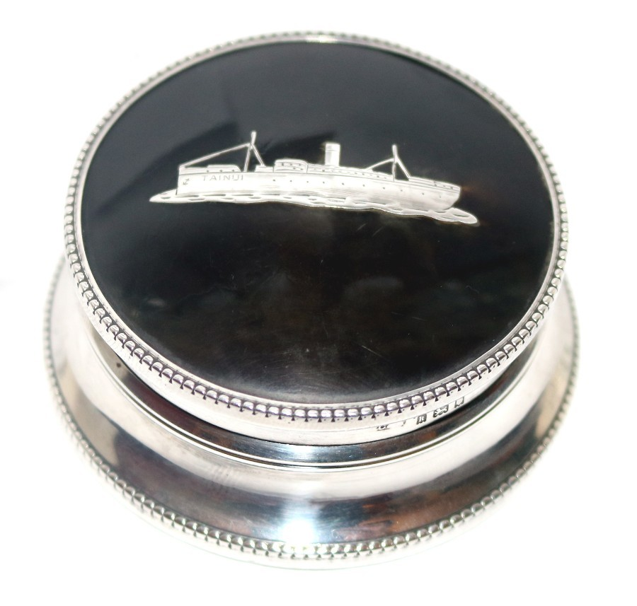 Antique Solid Silver & tortoiseshell : Unusual Trinket Box with Liner Ship Tainui - Maritime Inte...
