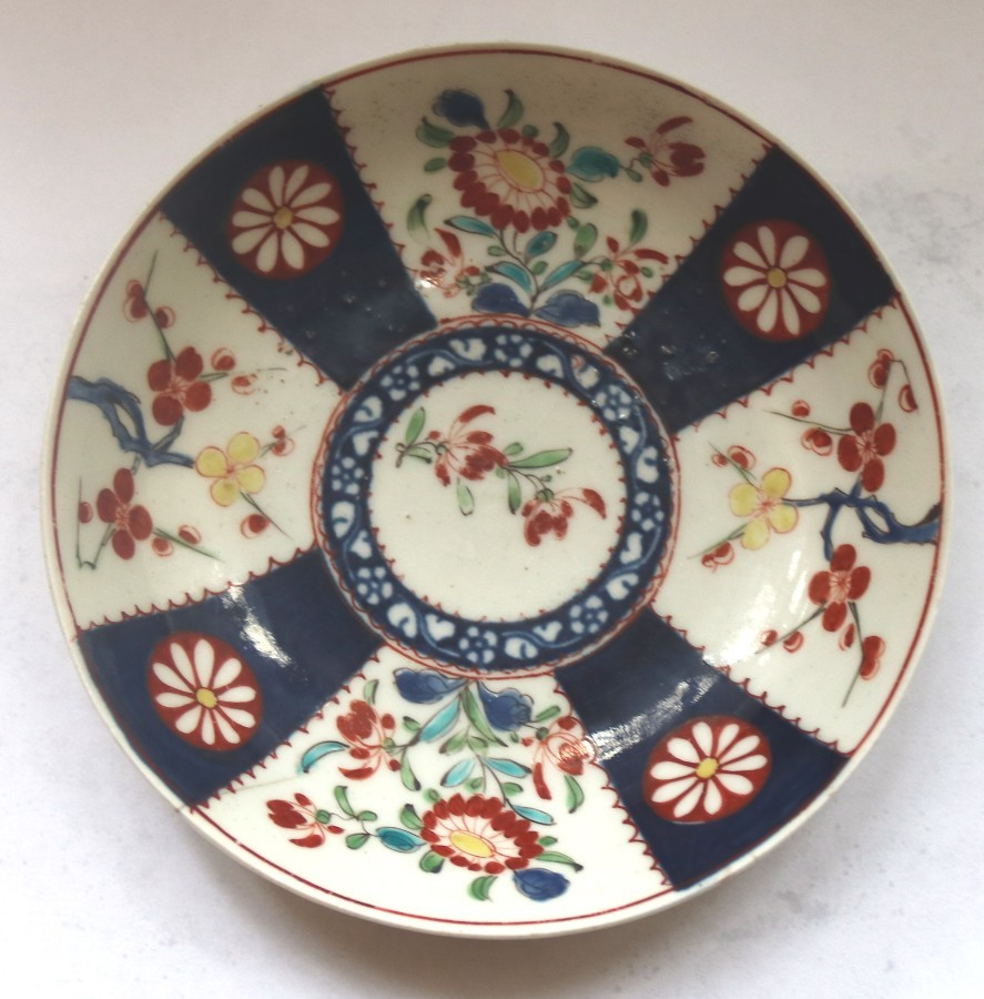 Antique English Porcelain 1st Period Worcester Queen's Imari Saucer 2 C.1770