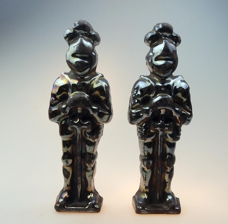 Art Deco pair of Vintage Art Deco Cast Iron Knights with silvered finish C.1920