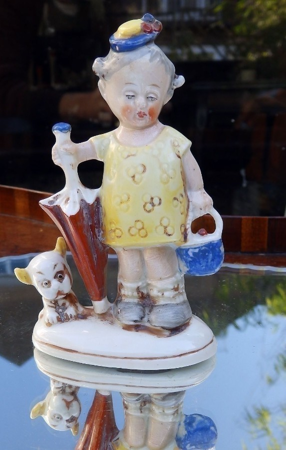 Art Deco Lucy Atwell type Antique China charming European bisque Figurine 192030