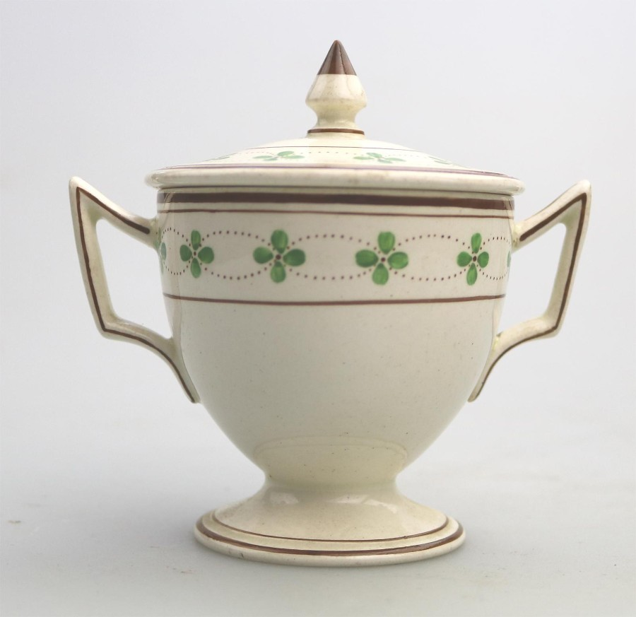 Antique English Pottery Wedgwood Creamware Lidded Loving Cup C.1905