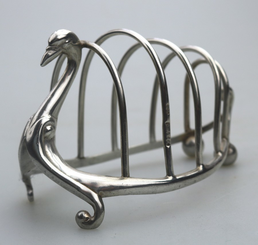 Antique Solid Silver : Novelty Swan Toast Rack / Letter Rack Robert Pringle C.1906