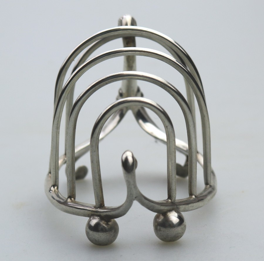 Antique Antique Solid Silver : Novelty Swan Toast Rack / Letter Rack Robert Pringle C.1906