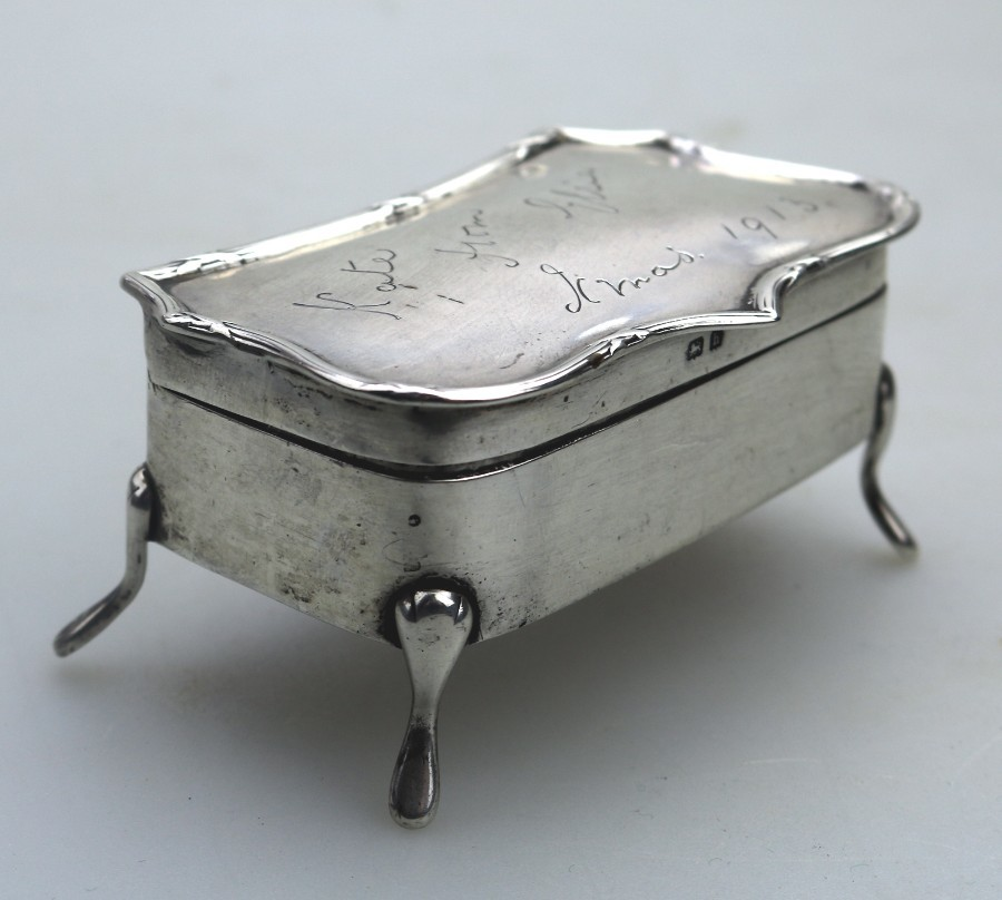 Antique Antique Solid Silver A shaped Trinket Box on legs C.1907