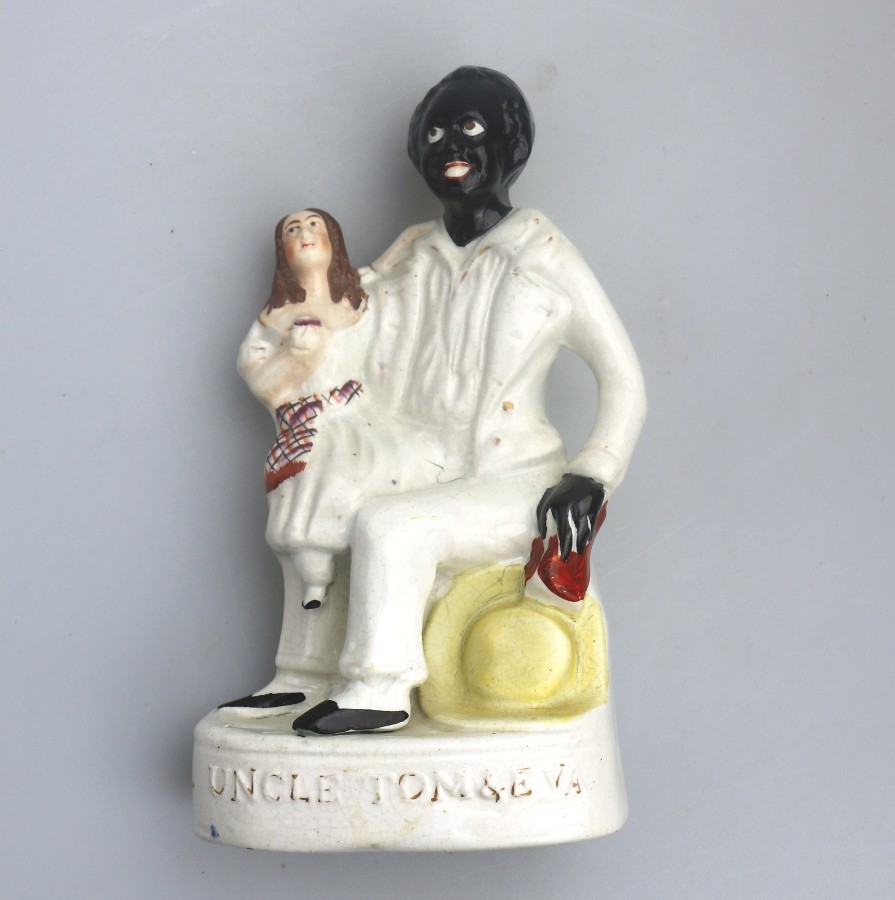 Antique Antique Staffordshire Figures : Uncle Tom & Little Eva Figure Group C.1860
