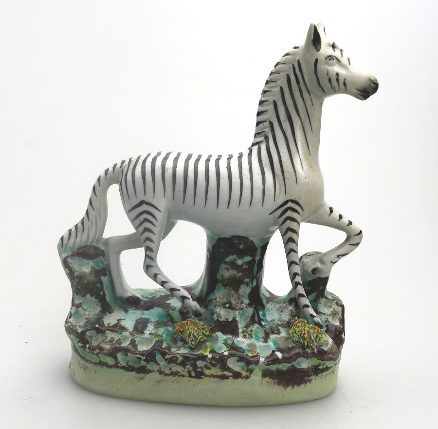 Vintage Staffordshire Pottery an attractive Zebra C.20thC