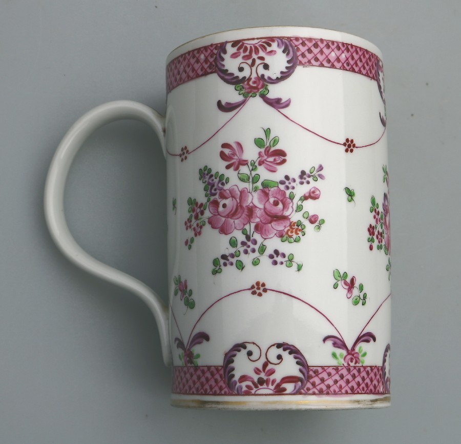 Antique Chinese Famille Rose Porcelain large Tankard signed C.19thC