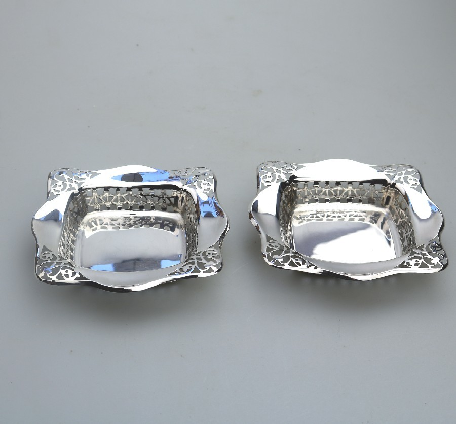 Antique Solid Silver : Unusual pair pierced square BonBon Dishes Chester C.1927