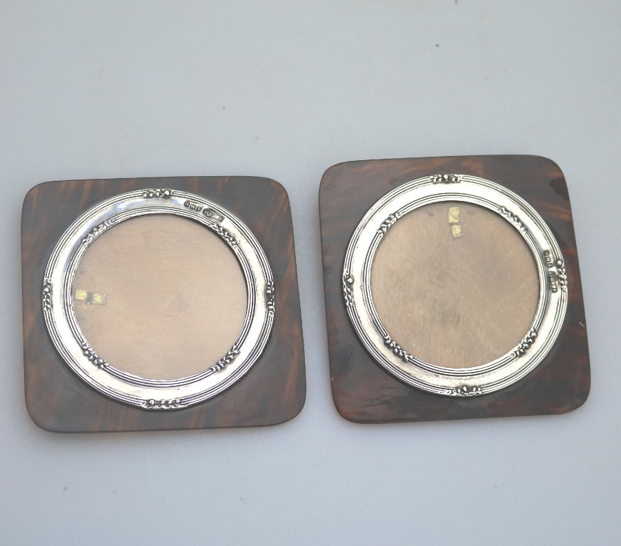Antique Solid Silver Pair of wall Photograph Frames Faux Tortoiseshell C.1928