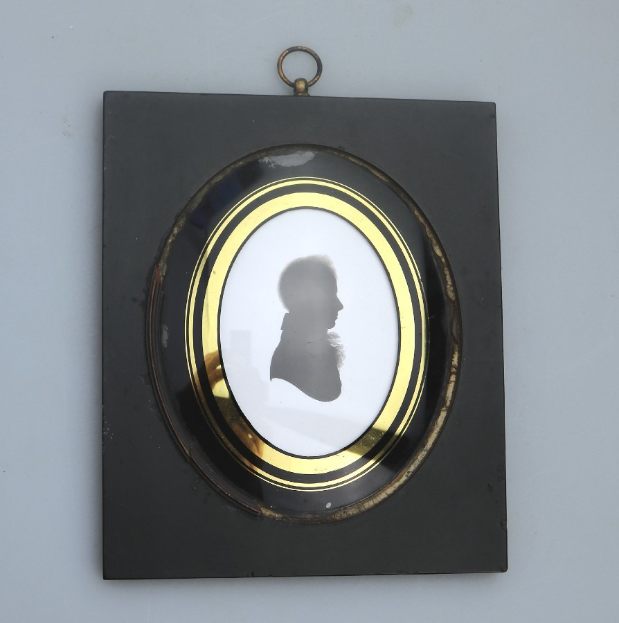 Antique Silhouette : A good John Miers Portrait - Trade label C.early 19thC